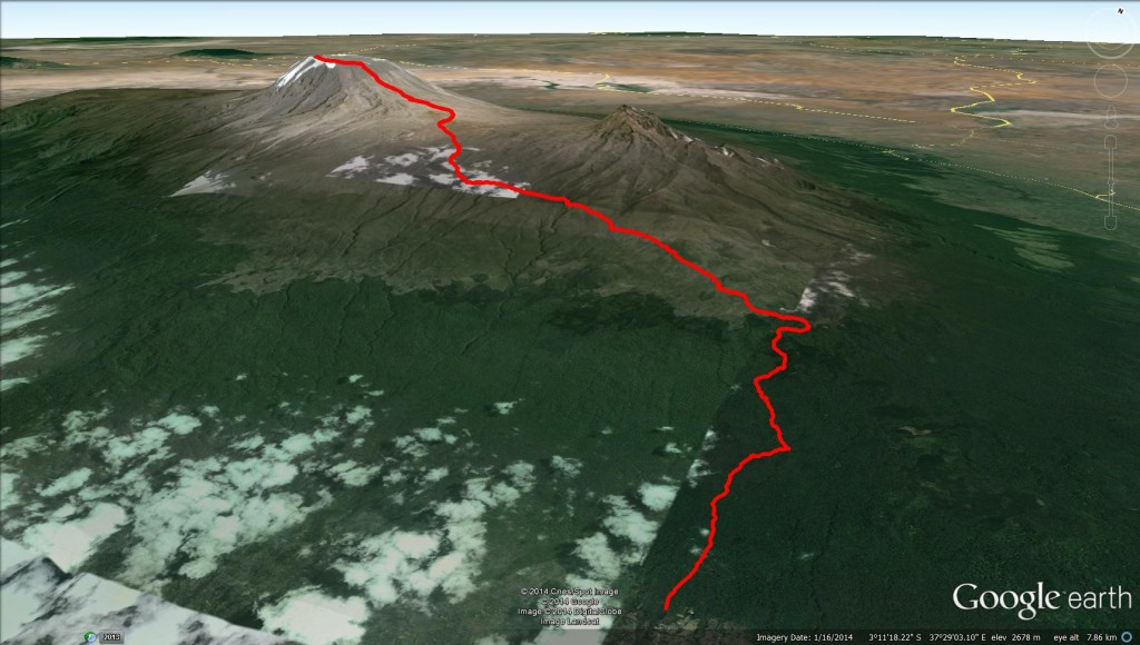 Kili Google Earth 3d - whole trail Mt. Kilimanjaro Uhuru Peak Marangu Route