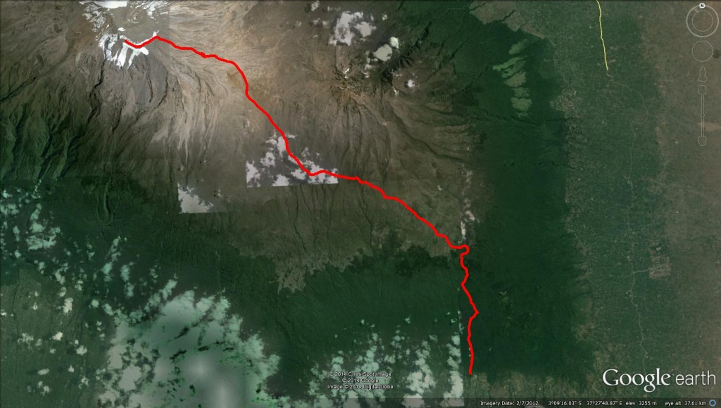 Kili Google Earth birdseye - whole trail Mt. Kilimanjaro Uhuru Peak Marangu Route