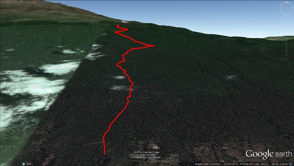 Kilimanjaro GPS Track marangu route google earth