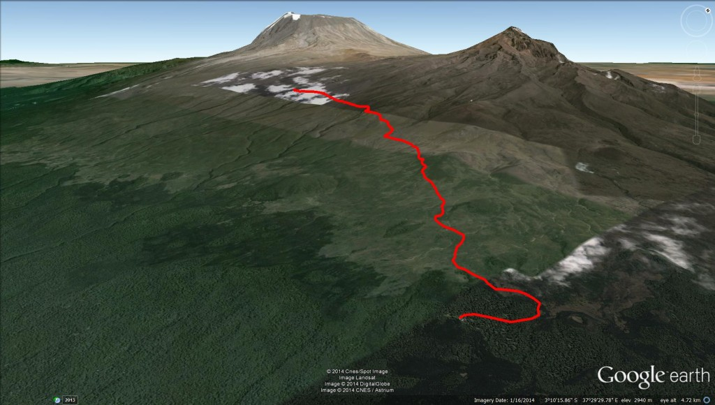 Google Earth 3D View horombo hut marangu route mt kilimanjaro