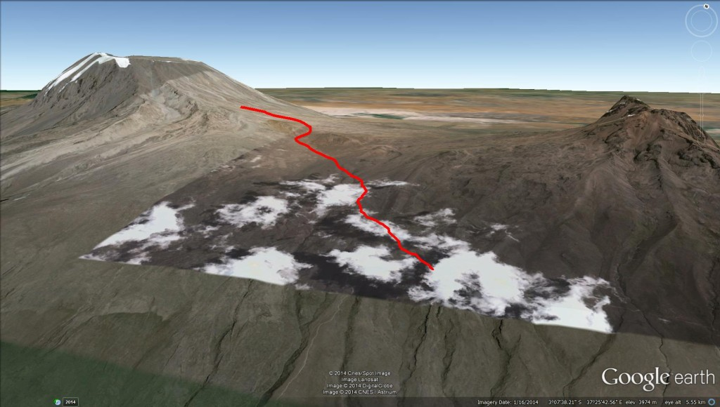 Google Earth 3D View marangu route mt kilimanjaro