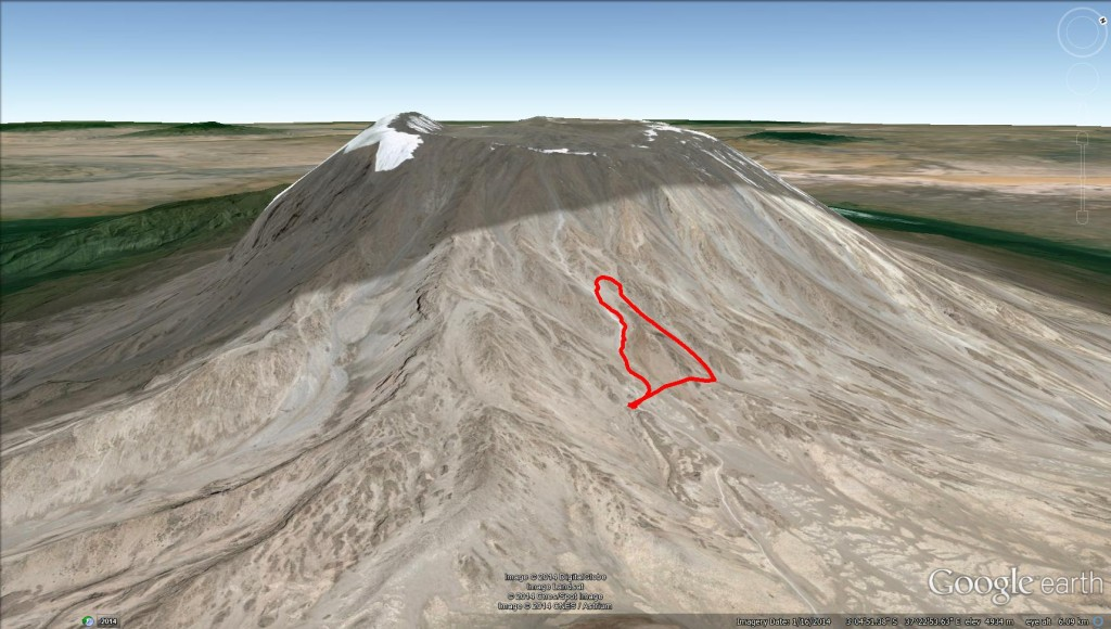 Google Earth 3D View marangu route mt kilimanjaro kibo hut
