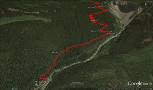 2015-02-21 - Panorama Ridge - Google Earth 3d Rubble switchbacks with BG waypoints