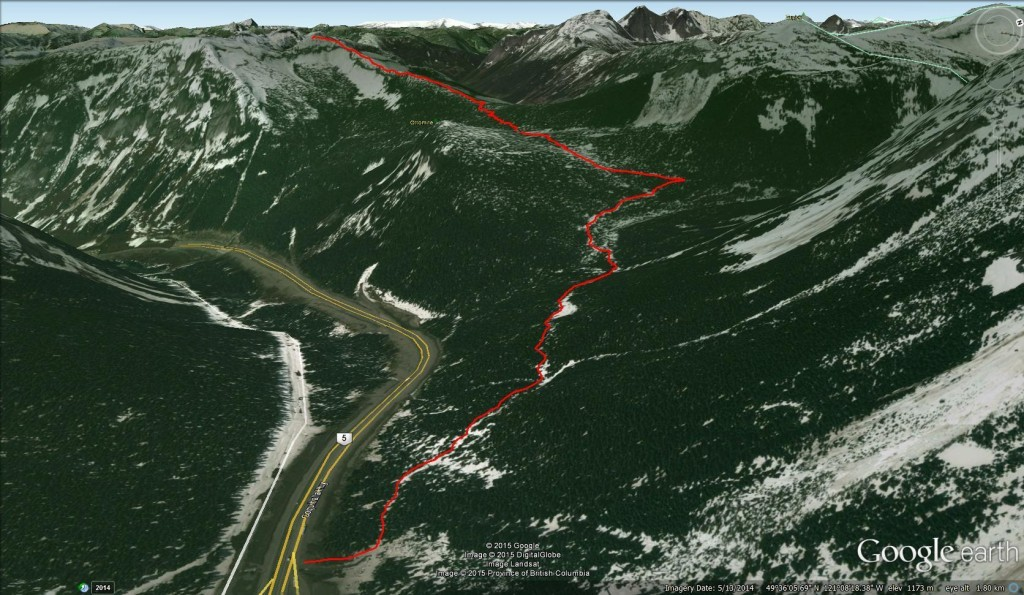 Google Earth 3D View of our Iago Peak Track