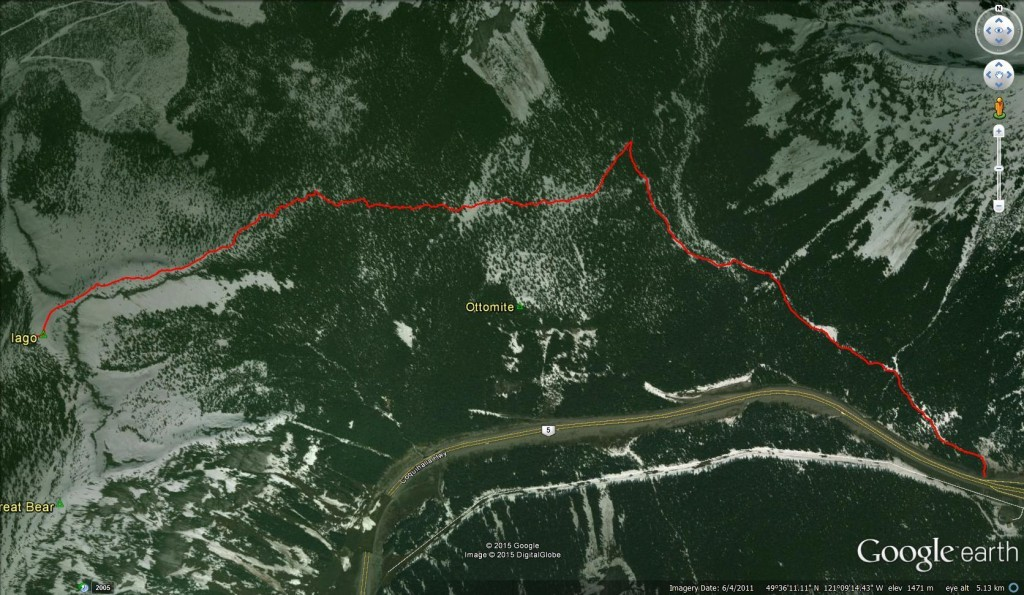 Google Earth Birdseye View of our Iago Peak Track