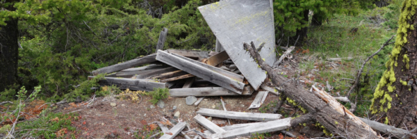 Remnants of an old TV/Radio Antenna west pavilion fire lookout trail