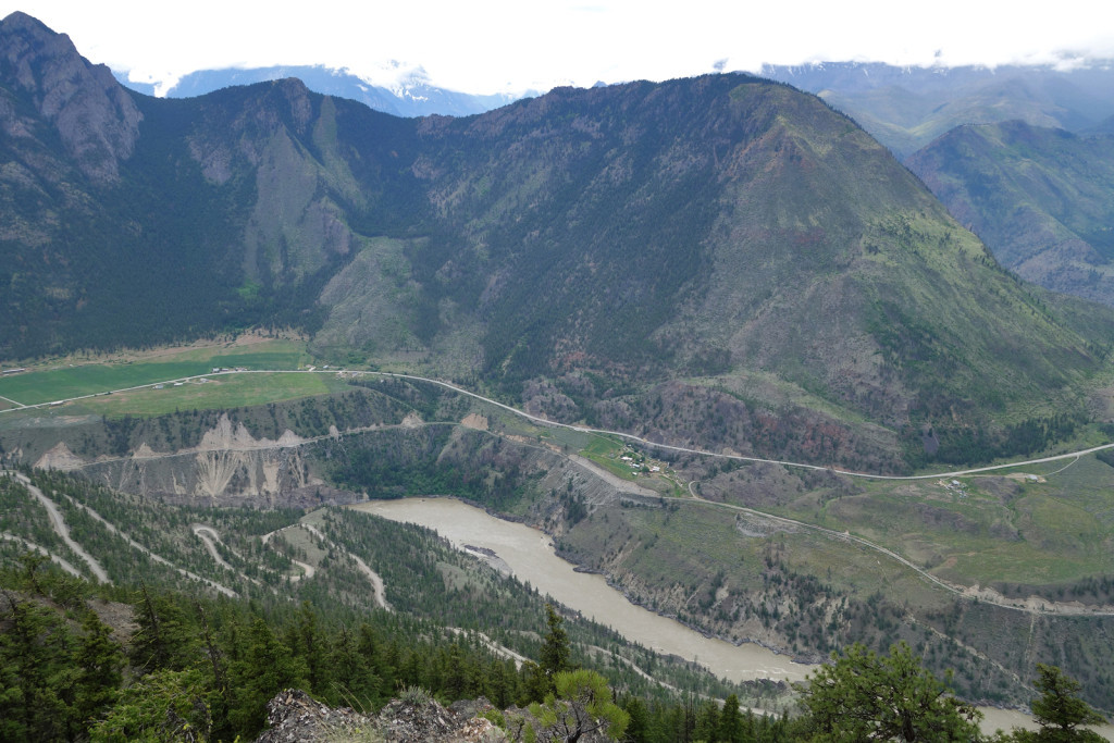 View of the Fraser Canyon from the First Viewpoint west pavilion camelshoof peak