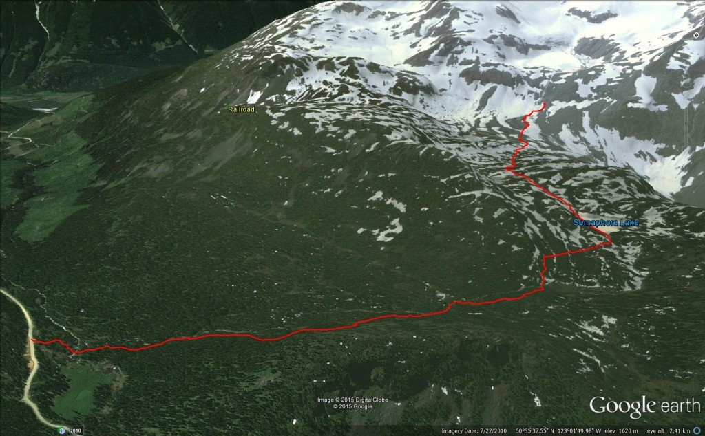 Google Earth 3D View of Semaphore Lakes Trail & Beyond railroad group hurley fsr