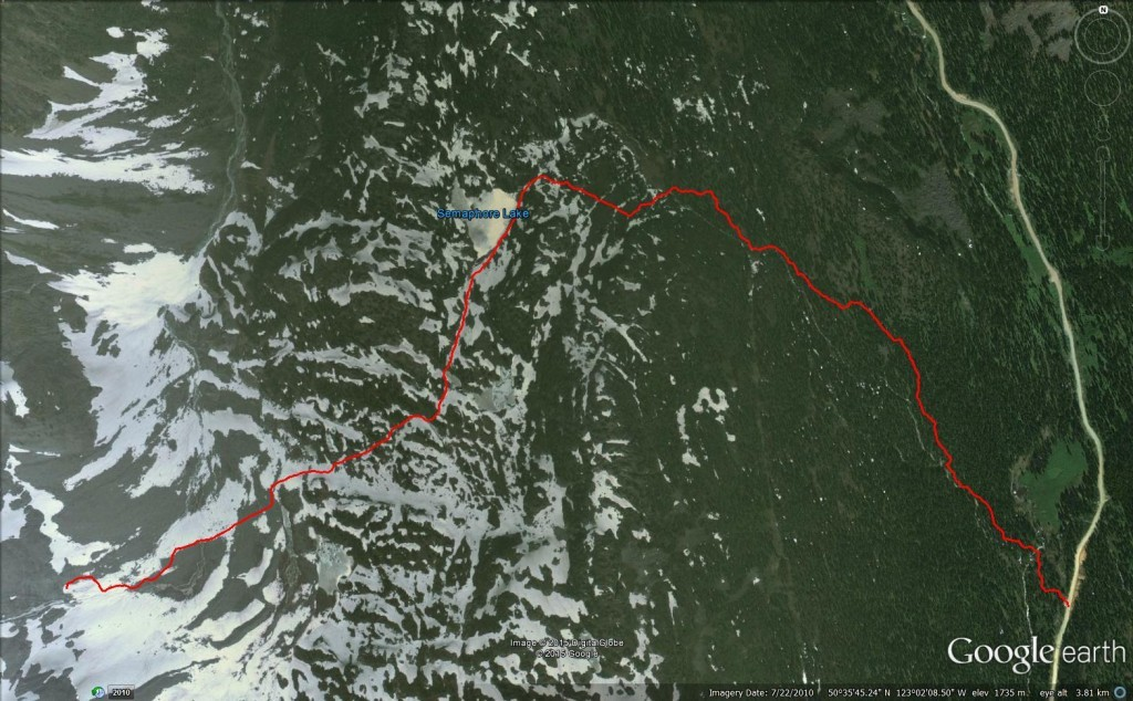Google Earth Birdseye View of Semaphore Lakes Trail & Beyond hurley fsr railroad group
