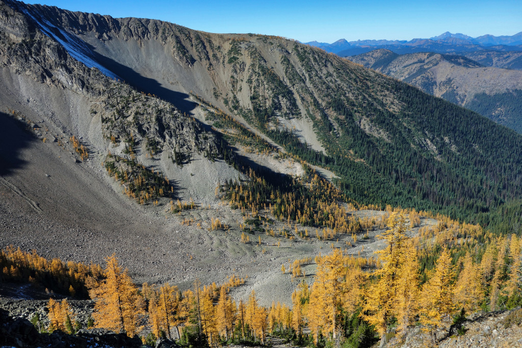 View of the Larches manning park frosty trail frosty mountain golden larches