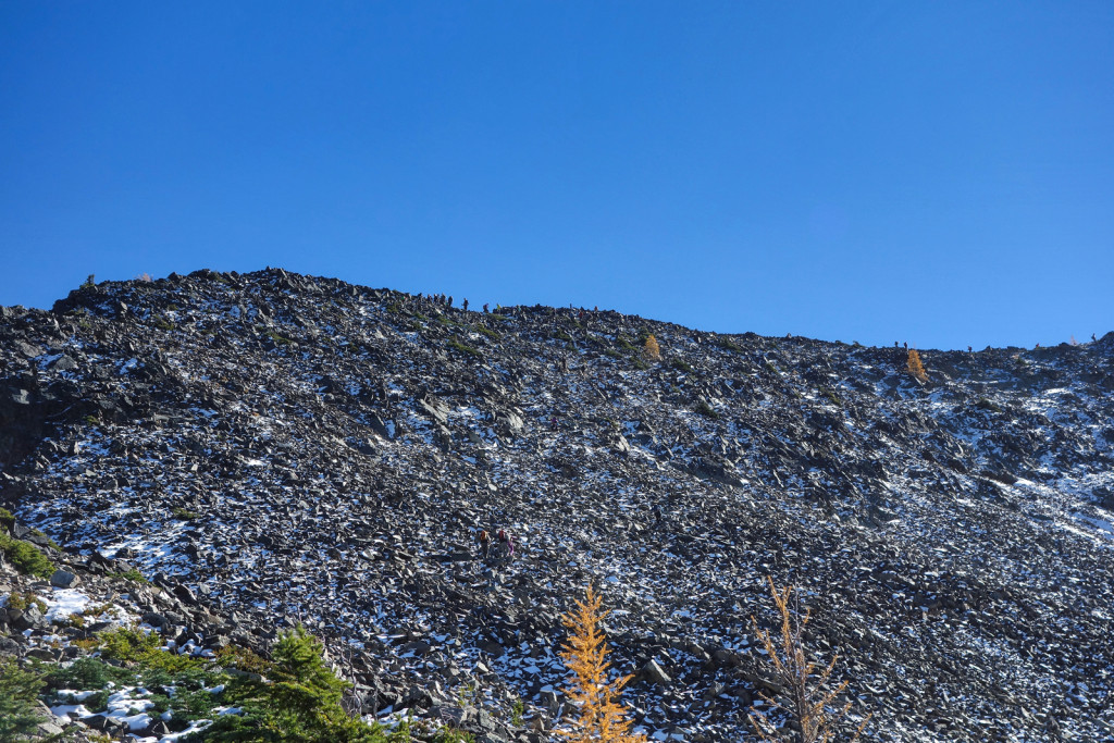 People Along the Ridge to Frosty Summit Golden Larches Manning Park